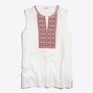 J. Crew Embroidered Placket Tank Top